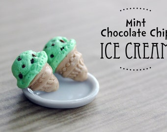 Polymer Clay Miniature Food Jewelry: Mint Chocolate Chip Ice Cream Cone Stud Earrings