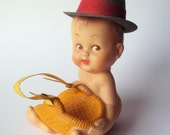 Vintage Nude Baby in a Fedora Squeak Toy