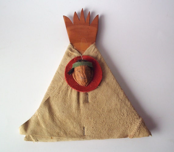 Vintage craft leather handmade indian teepee by for Native american handmade crafts