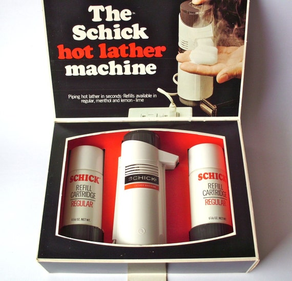 Vintage Schick Hot Lather Machine in Original Box with Two Cartridges