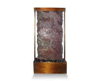 Tabletop Water Fountain - Raja Slate Waterfall With Copper Bronze Patina