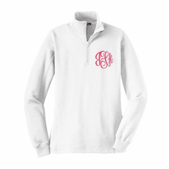 Monogram pullover Monogram sweatshirt 1/4 zip by StitchingDesigns
