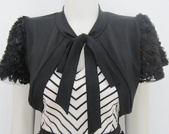 Black Bolero Jacket Black Shrug bolero Wedding Bolero Bridal Shrug Bolero Shrug Cover up Jersey Lace Shrug Bolero Cover up (Made to Order)