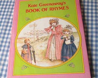 kate greenaway's book of rhymes, vintage 1989 children's book