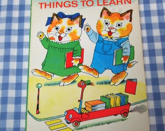 richard scarry's things to learn, vintage 1976 children's mini book
