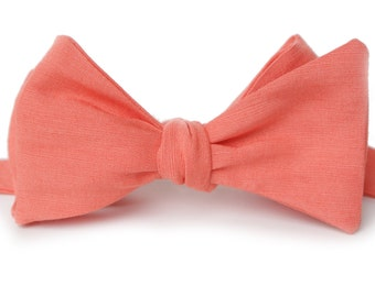 Coral Linen Bow Tie