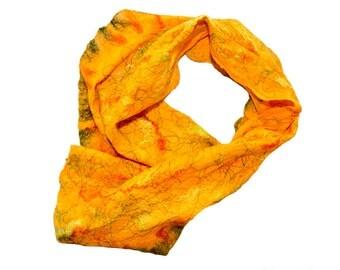 SALE, Felted scarf, cobweb, wrap, merino wool, orange, green, yellow  - Pumpkin