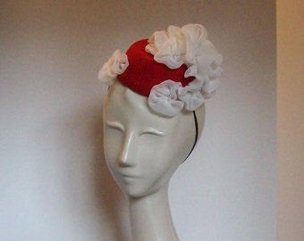 Red Pillbox Hat with Chiffon Flowers