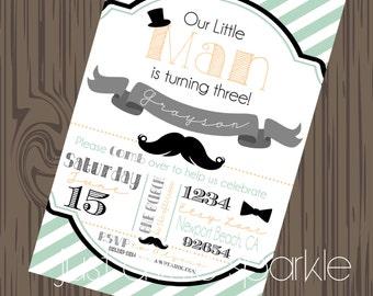 Mustache Birthday invitations printable, Printable mustache bash invitation, little Man invites