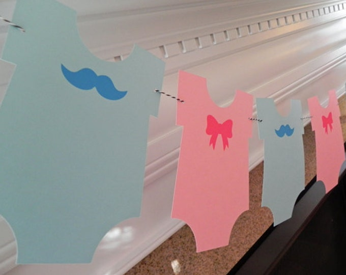 Party Banner: Gender Reveal Blue Boy Mustache & Pink Girl Bow Bodysuit Garland - Baby Shower gender reveal die cut mustaches bows photo prop
