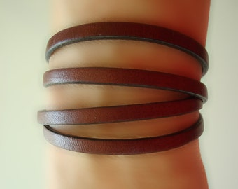 Genuine Leather Wrap Bracelet. Add vintage pins for a new look everyday.
