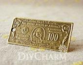 Antique Bronze Tone US Dollar Cash Pendants 41x19mm - 10Pcs - DC20399