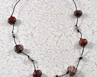 Poppy Jasper & Leather Necklace