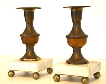 Marble Wood Brass Candlestick Holders