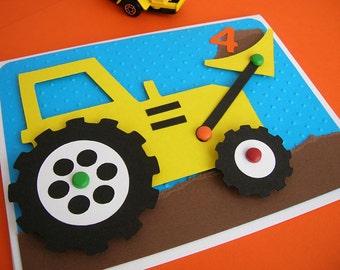 Bulldozer Invitation for Construction Theme Birthday Party