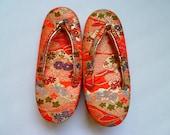 Girls kimono sandals zori brocade vintage