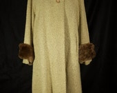 Vintage Oatmeal Full-Length Winter Coat with Beaver Fur Cuffs & Scarf Accent