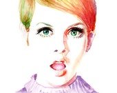 Watercolor Fashion Illustration - Twiggy - Cool Girl - 60s 70s