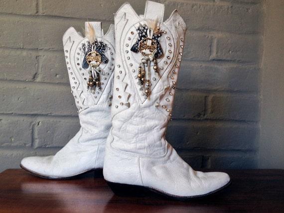 El Vaquero Bitchin 80s 1980s Cowboy Boots White Leather