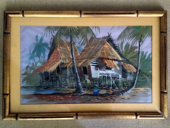 Vintage Tiki Hut Original Painting Picture Hawaiian Home Wall