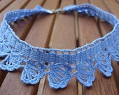 Crocheted Choker - Blue Lace Crochet Necklace