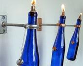 3 Cobalt Blue Wine Bottle Oil Lamps - INDOOR - Hanging Lantern - gift for mom - Hurricane Lamp - Wine Bottle Lighting