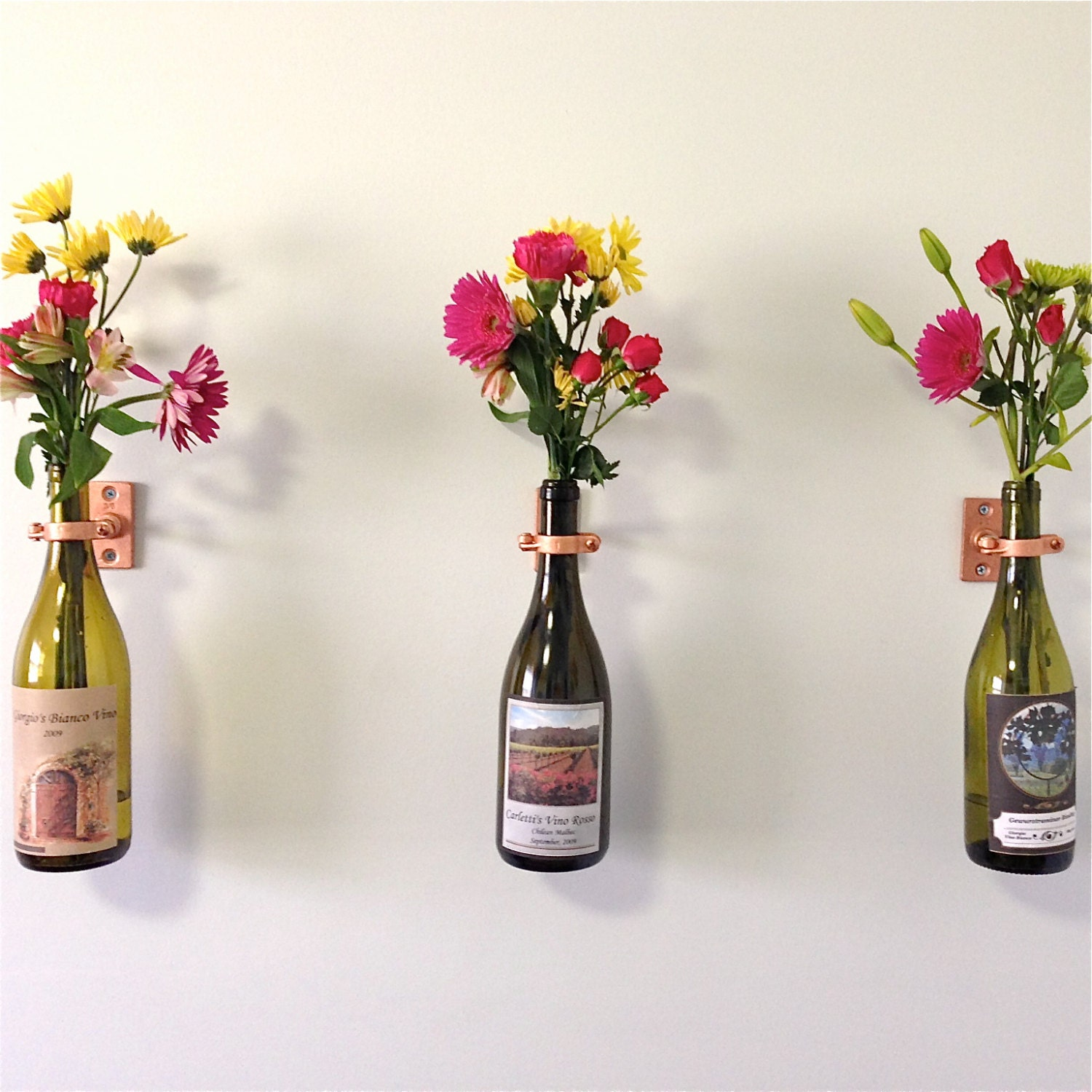 Hardware only 6 wine bottle wall flower vase kits silver - Great decorative flower vase designs ...