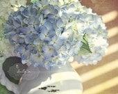 Hydrangea Photography- Flower Photography, Hydrangea Flower Print, Cottage Decor, Floral Wall Art, Still Life Photo, Blue White Tan Decor