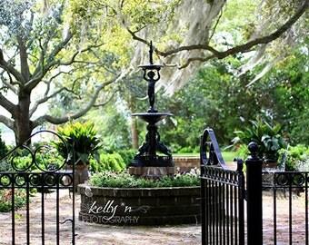 Beaufort Garden- Garden Photography- Beaufort, SC Garden Gate Fountain- Southern Garden- 8x12 Fine Art Print