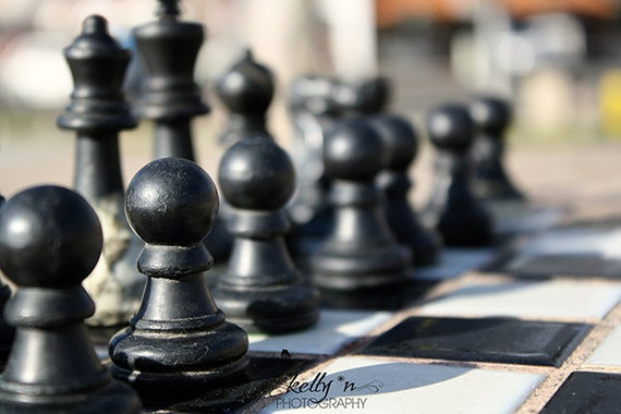 Chess Pieces Photo- Black Chess Pieces Print, Outdoor Chess Set Photograph, Game Photograph, Chess Board Print, Office Game Room Decor