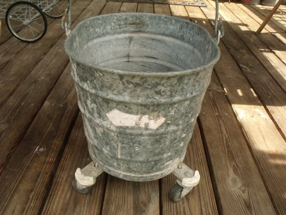 Vintage Mop Bucket On Wheels By White Oval Galvanized