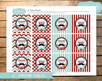 """INSTANT DOWNLOAD Little Man or Little Mister Mustache Bow Tie Baby Shower 2"""" Favor Tags"""