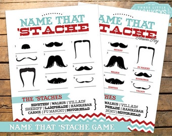 INSTANT DOWNLOAD Name That 'Stache Mustache Party Game