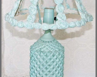Lamp Light Aqua Shabby Chic Glass Crystal Hand Painted with Shade
