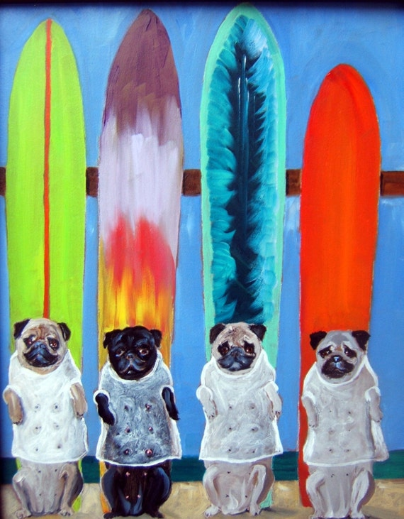 "Pug Dog Art Print / ""Wet T-shirt Contest""...on Pug Island/by Original Mike Holzer"