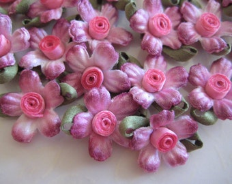 20 Pcs Fuchsia Satin Flower Appliques with Green Leaves for Crafting, Sewing, Doll Clothes, Mini Top Hat, Card Making 1 inch