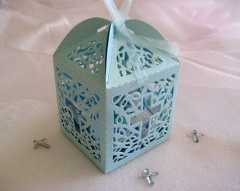 Holy Cross Pearled Blue Favor Boxes for Christening Favors, Baptism Party, First Communions Celebration  - Set of 12
