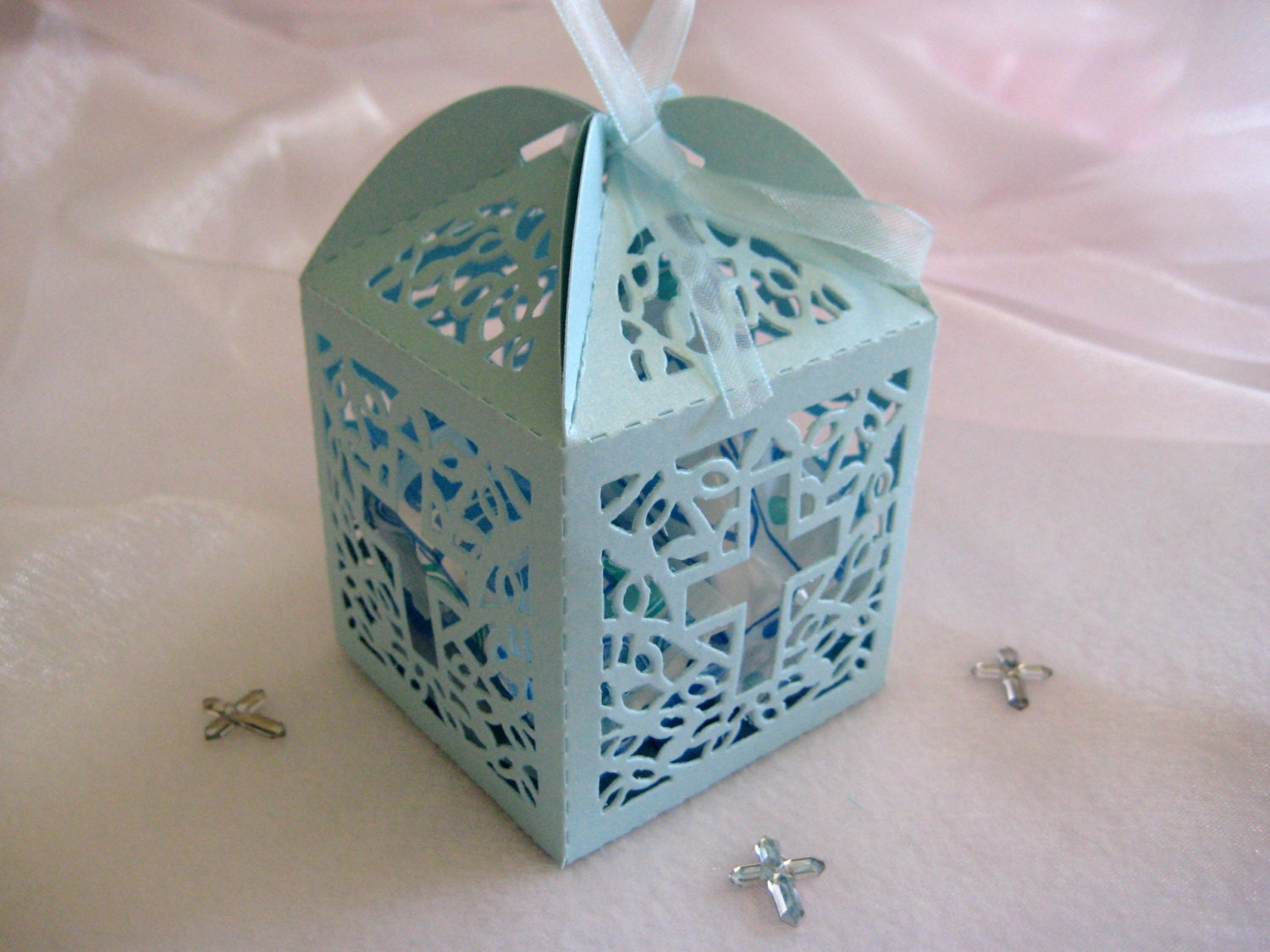 60 Pieces Holy Cross Blue Favor Boxes For Christening Favors