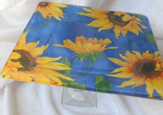 "LISTING FOR FELICIA Sunflower Blue Square Glass Cake Stand Pedestal 10"""