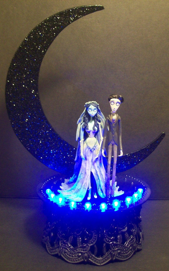 Corpse Bride Amp Victor Wedding Cake Topper Crescent Moon Tim