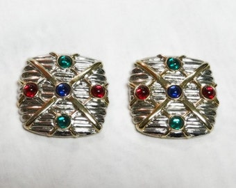 Silver and Gold Shoe Clips with Colored Stones - Hinged - Vintage