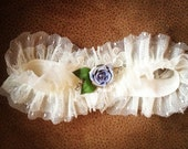 "Bridal Garter: Blue, Rhinestone Vintage Jewelry PIece & Point d'Esprit Garter, ""SOMETHING BLUE"""