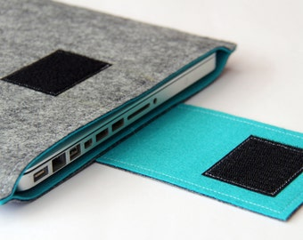 "15"" Macbook Pro Case, MacBook 15 inch Cover, 15 inch Laptop Sleeve, 15 Inch MacBook Pro Case - Gray & Turquoise - Weird.Old.Snail"