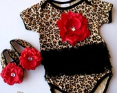 Leopard black tutu onesies  Baby  Onesie , headband and shoes  Set, ,Girl romper.