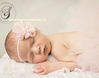 Pale Pink Headband Light Pink Baby Headband Blush Pink Headband Newborn Headband Baby Bows Pink Chiffon Flower Headband Newborn Photo Prop