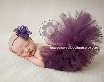 Plum Tutu Purple Tutu Dark Purple Tutu Set Plum Newborn Tutu Sweet Thai Lotus Blossom Tutu Newborn Tutu And Headband Newborn Photo Prop