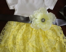Yellow Lux Lace infant dress with Sash Easter Dress