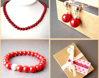 Red Beaded Glass Pearl Necklace, Stretch Bracelet, and Sterling Silver Stud Earrings Set, Bridesmaid Jewelry, Bridesmaid Gift, Beaded