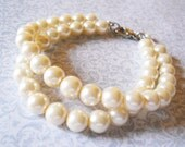 Under 20 Dollars Bridesmaids Jewelry Double Strand Pearl Bracelet Simple Pearl Jewelry Two Strand Pearl Bracelet Ivory Pearl Bracelet