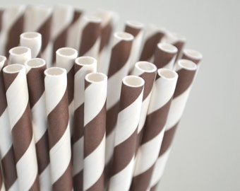 50 Chocolate Brown Stripe Paper Straws, Made in USA